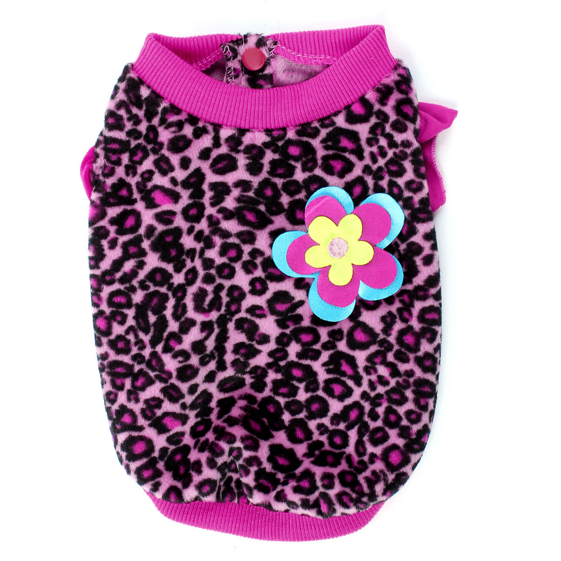 Ruffled Cuff Leopard Pattern Pet Dog Doggy Coat Apparel Black Fuchsia S