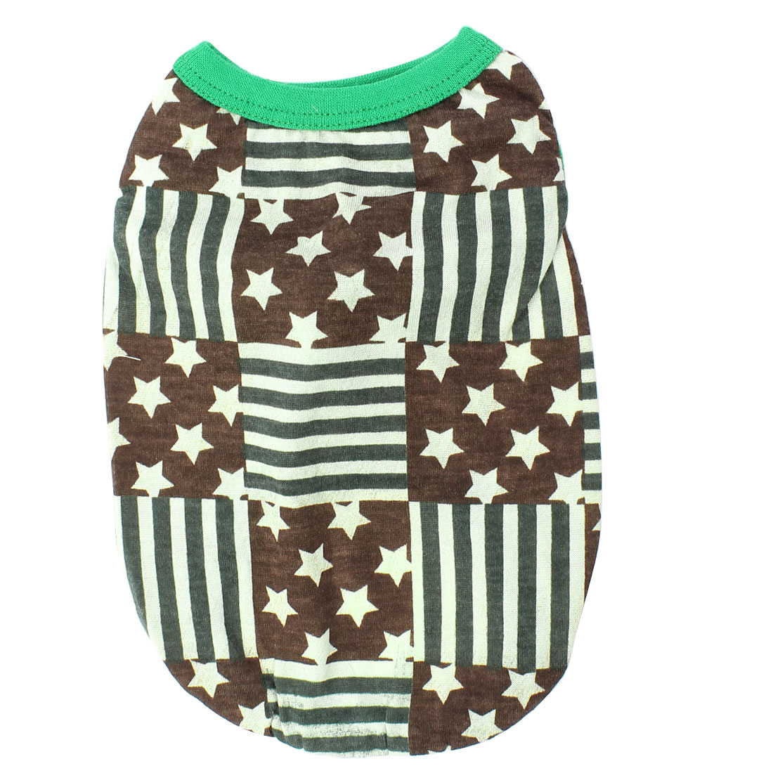 Sleeveless Stripe Pattern Pet Dog Puppy Shirt Clothes Coffee Color Green XS