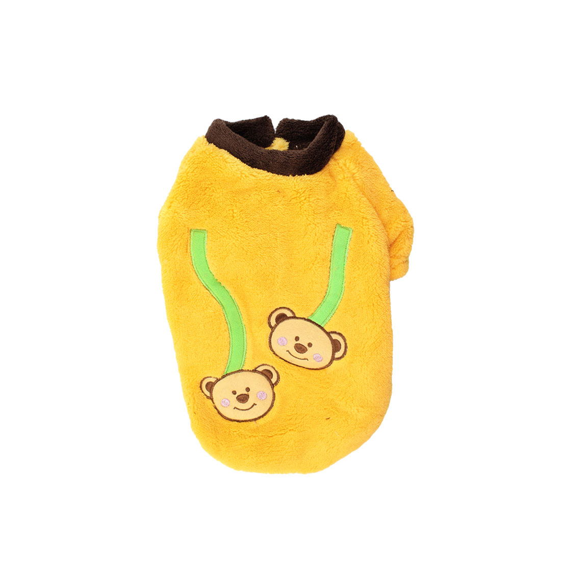 Raglan Sleeve Bear Pattern Pet Dog Doggy Coat Apparel Yellow Size M