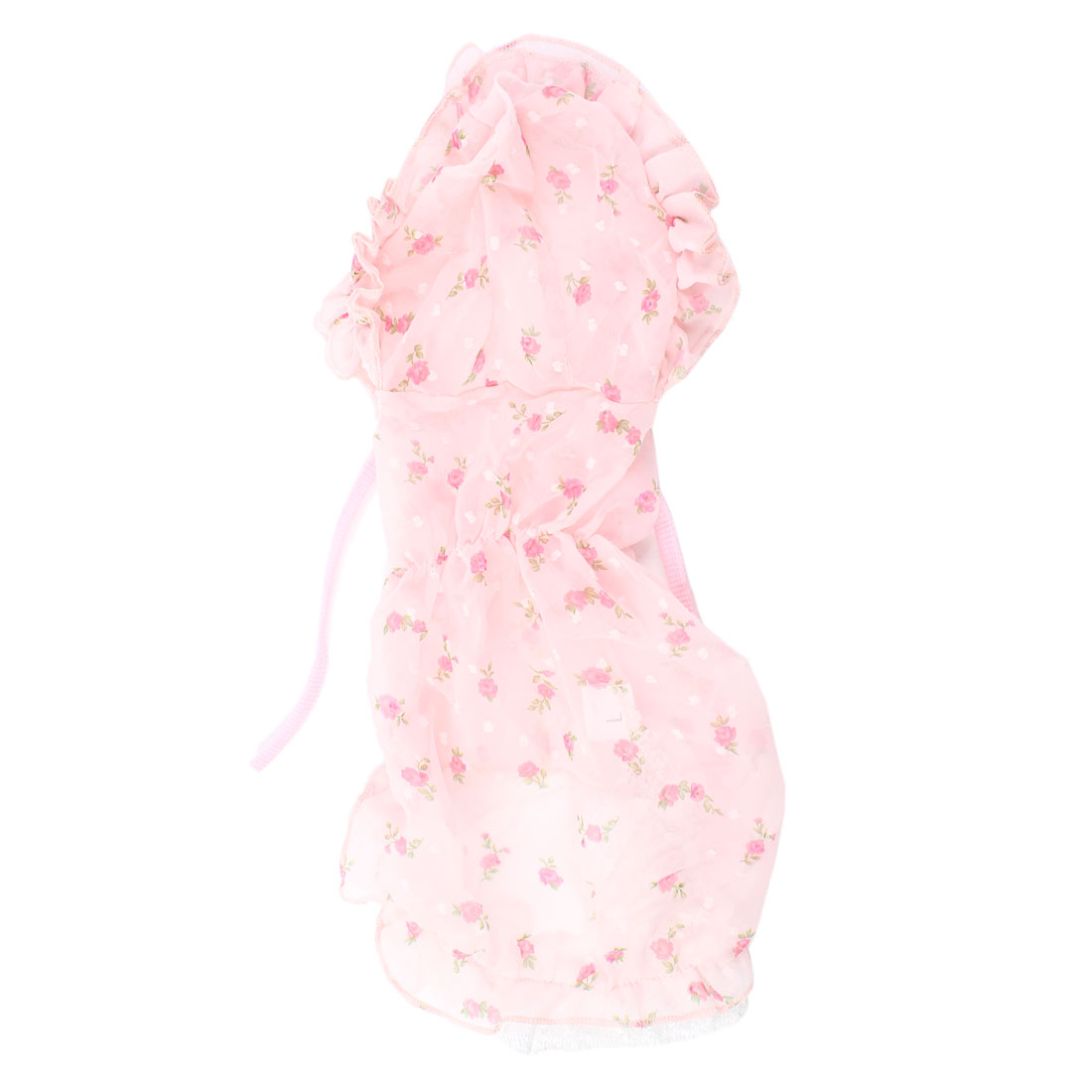 Ruffled Edge Flower Pattern Pet Dog Doggy Dress Apparel Pale Pink XS