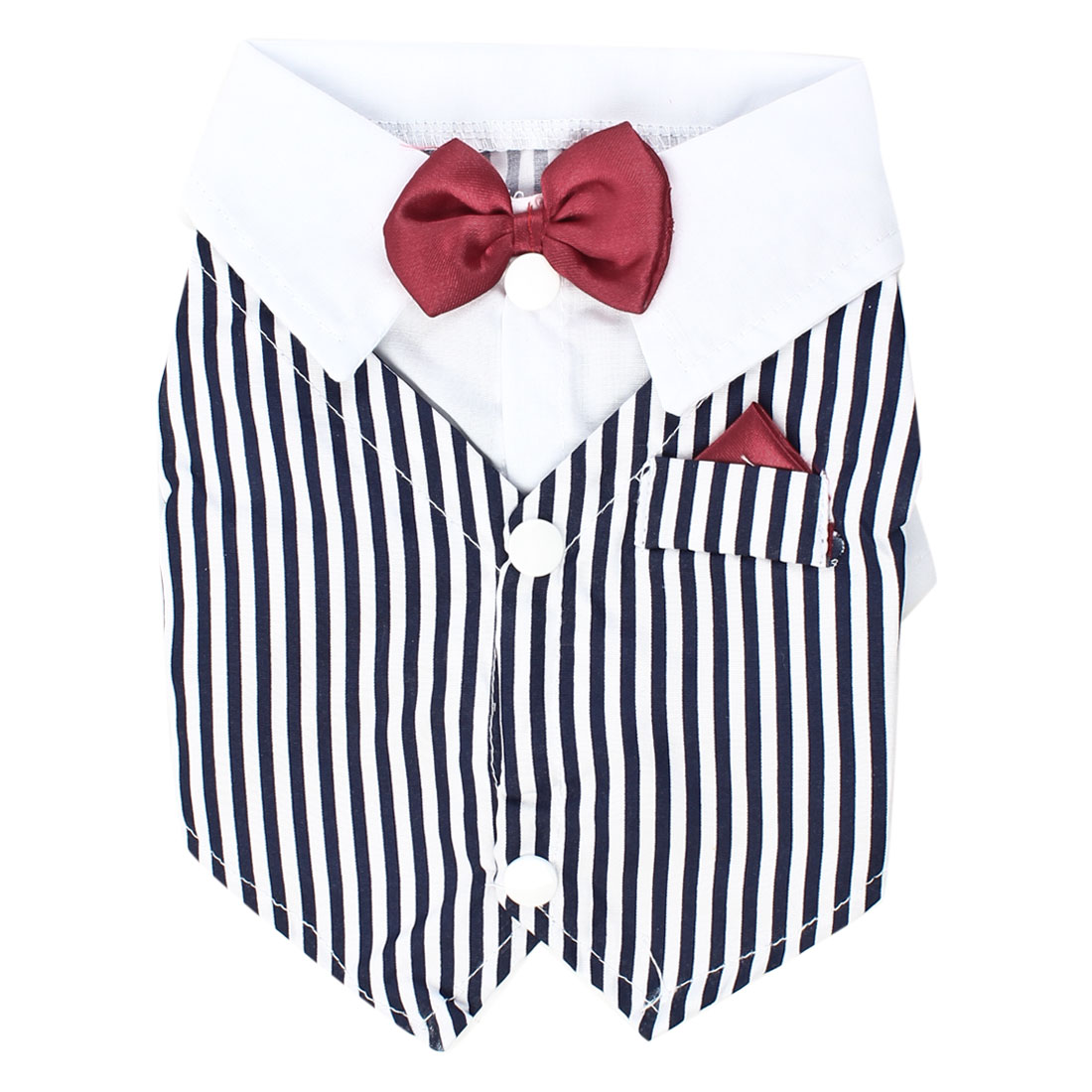 Single Breasted Bowtie Detail Striped Pet Dog Doggy T-shirt White Navy Blue S