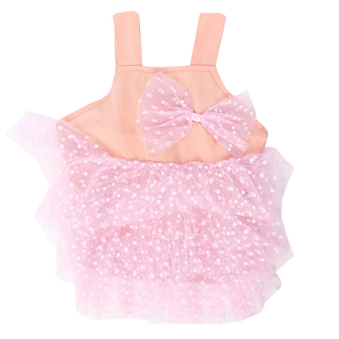 Sleeveless Dot Print Layered Pet Dog Tank Top Dress Clothes Peachpuff S