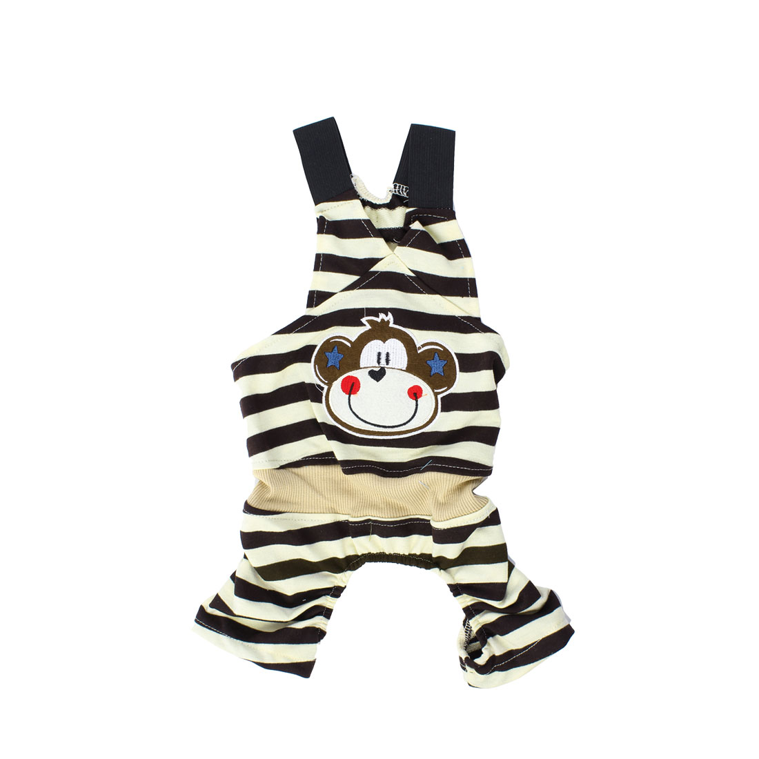 Stripe Monkey Pattern Pet Dog Suspender Jumpsuit Chocolate Color Beige M