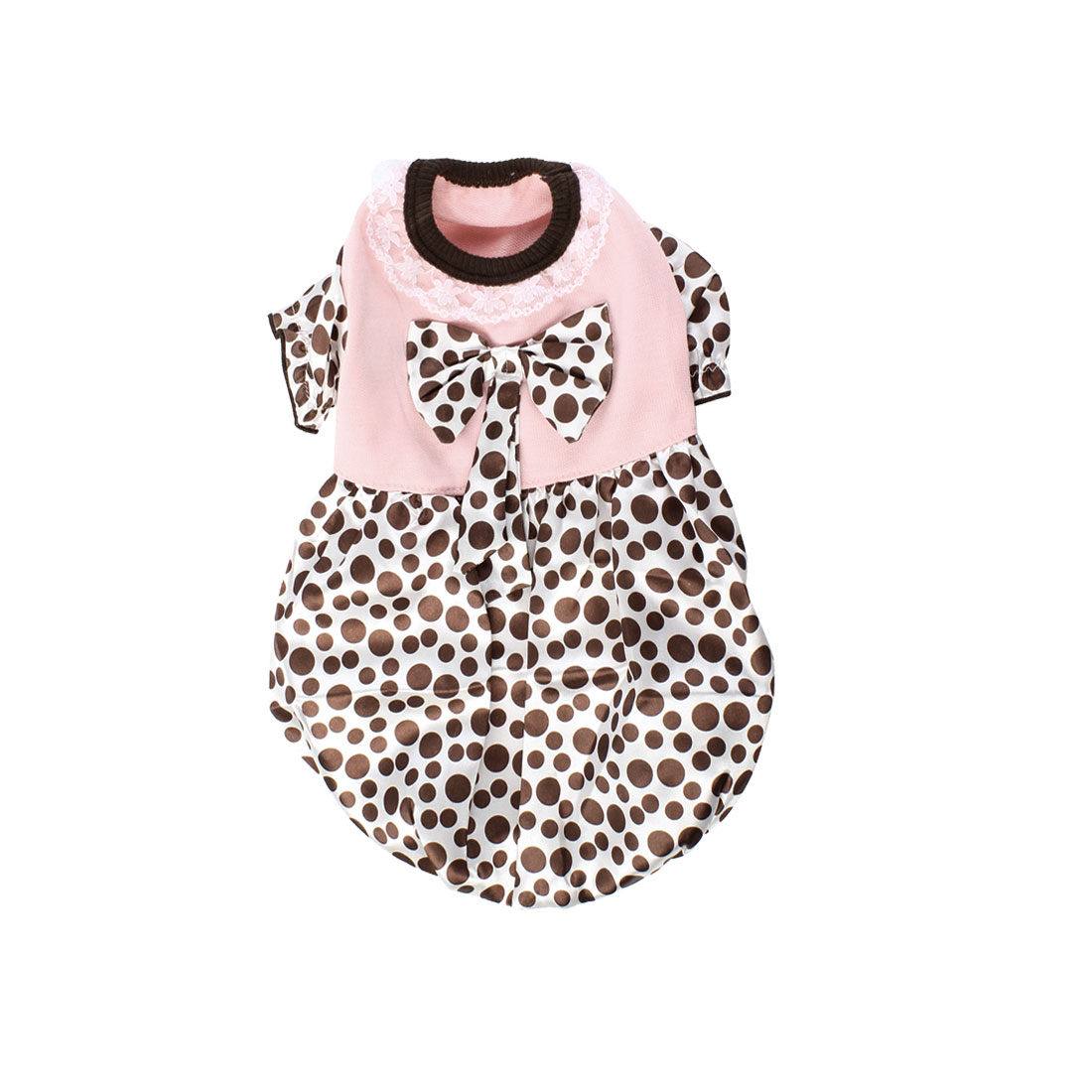 Round Neck Dot Print Lace Detail Pet Dog Dress Clothes Coffee Color Pink S
