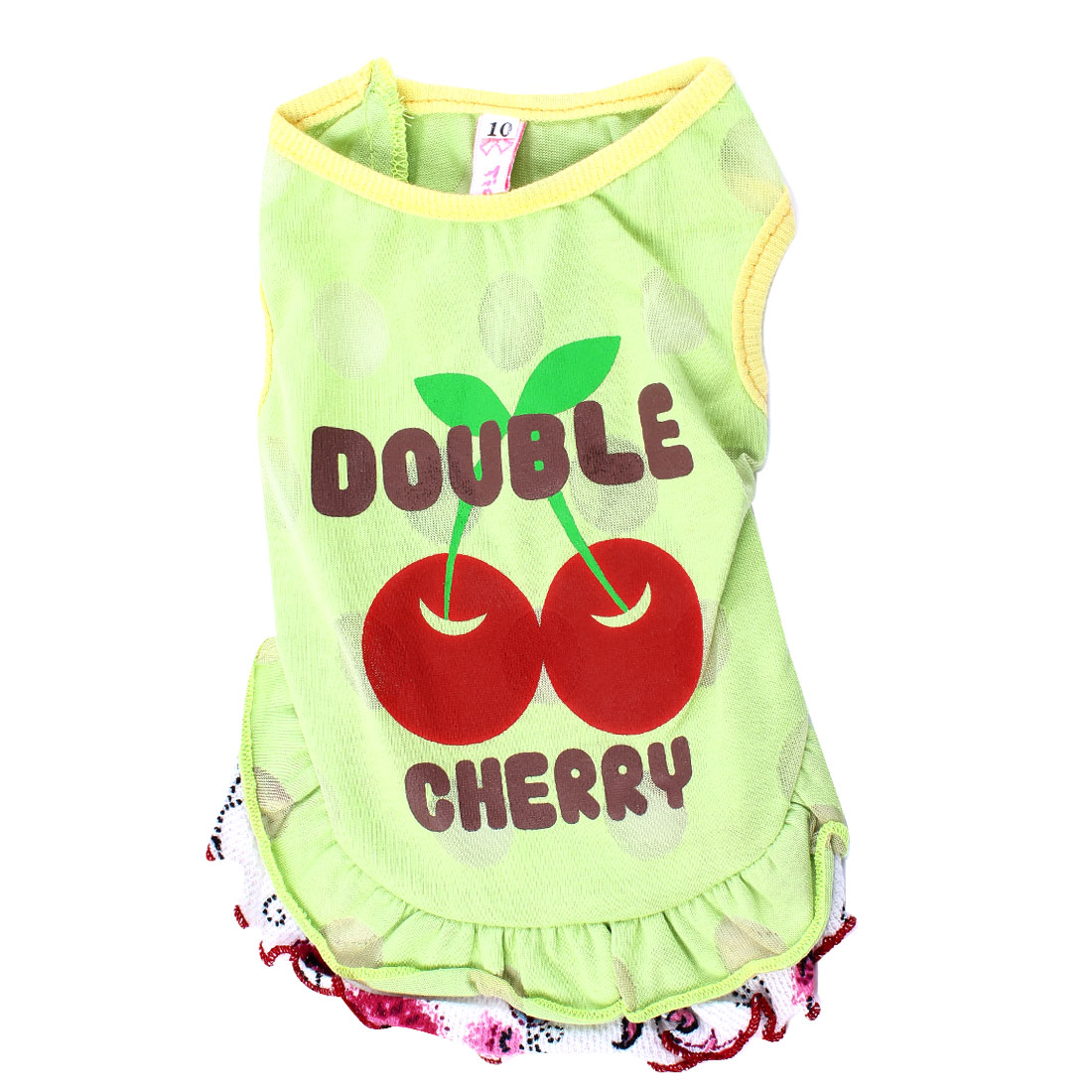 Round Collar Cherry Pattern Pet Dog Yorkie Dress Apparel Green XS