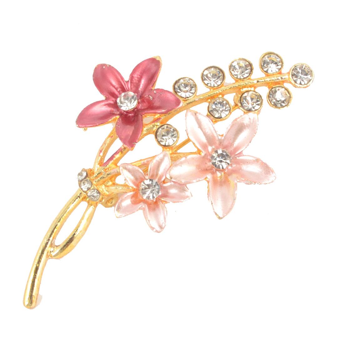 Ladies Glitter Rhinestone Inlaid Flower Decor Safety Pin Brooch Pink