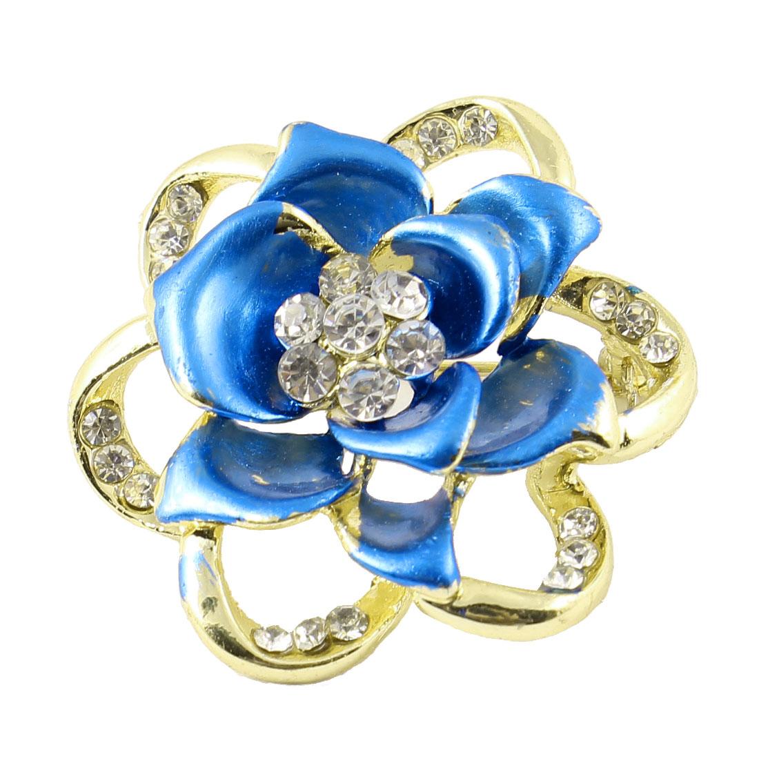 Lady Glistening Rhinestone Inlaid Flower Shape Breast Pin Brooch Blue Gold Tone
