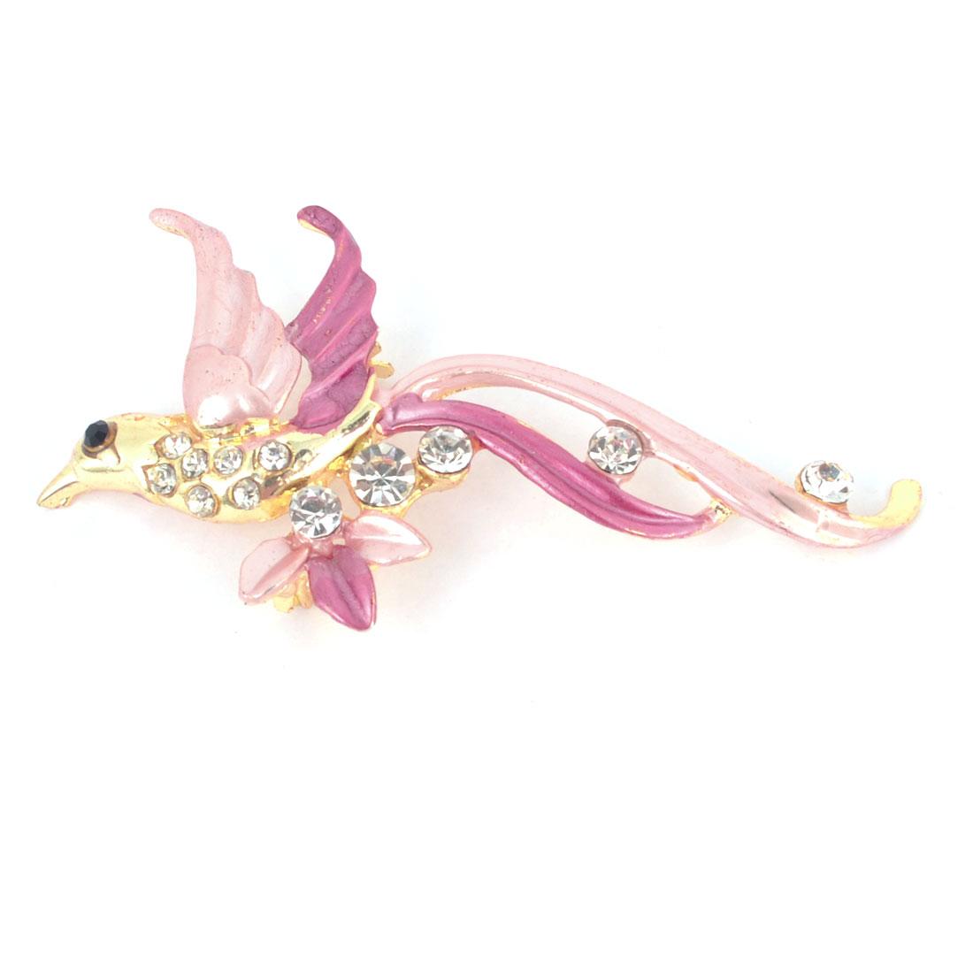 Lady Dress Adornment Rhinestone Detail Pink Fuchsia Bird Shaped Brooch Broach