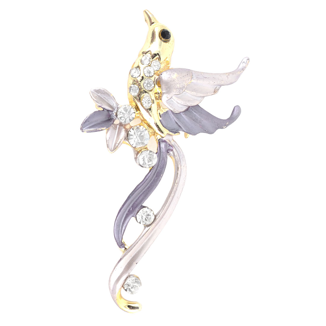 Women Plastic Shiny Rhinestone Inlaid Pink Purple Wings Dress Clothing Safety Pin Brooch Breastpin Gold Tone