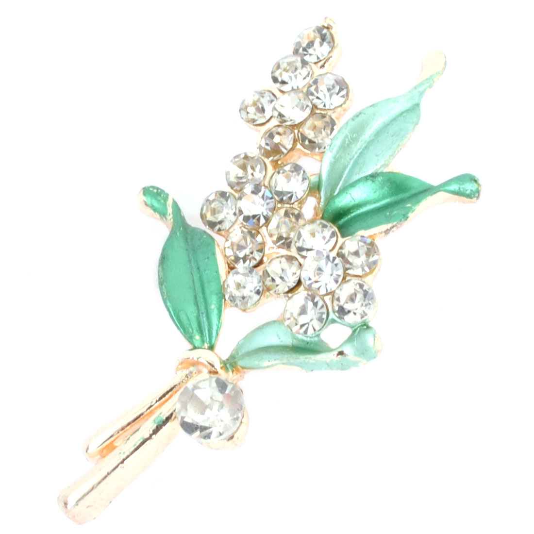Woman Dress Adornment Rhinestone Accent Green Flower Pin Brooch Broach