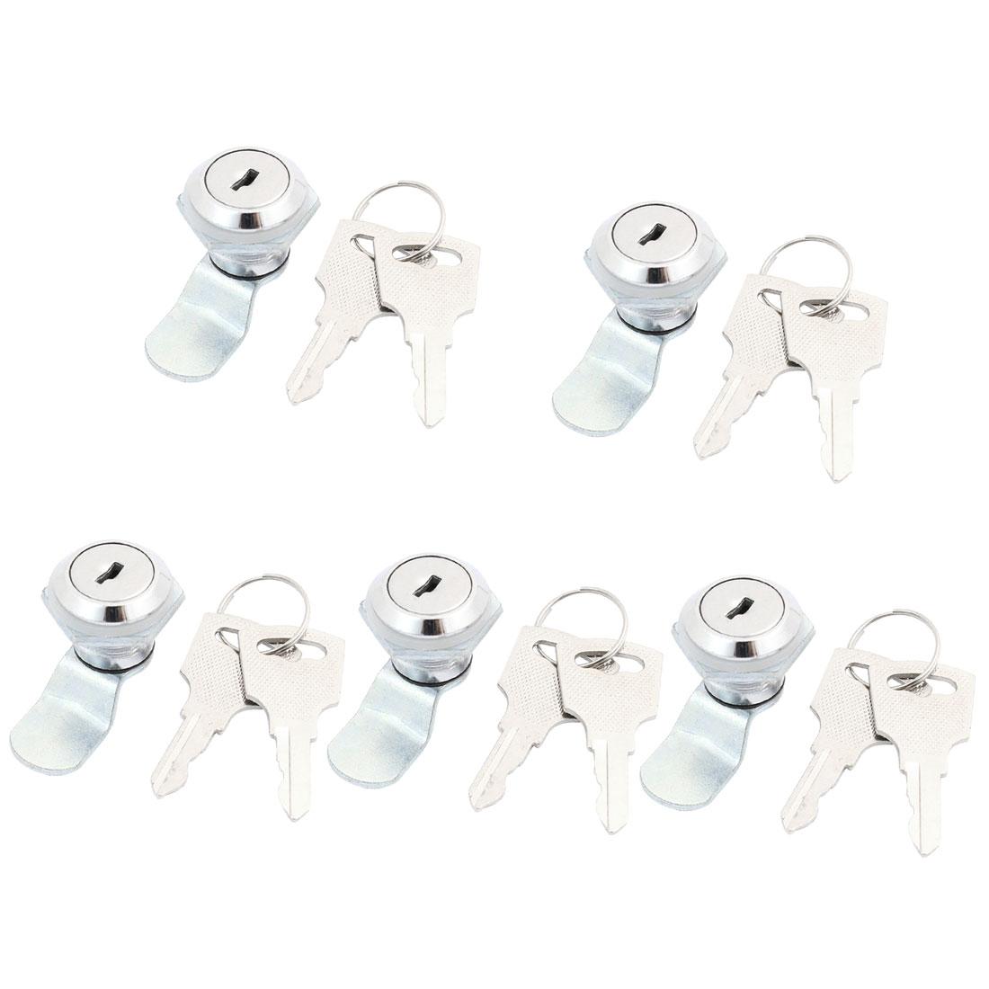 5 Pcs Tool Box Cabinet Locking 17mm Dia Thread Cylinder Cam Lock + Keys