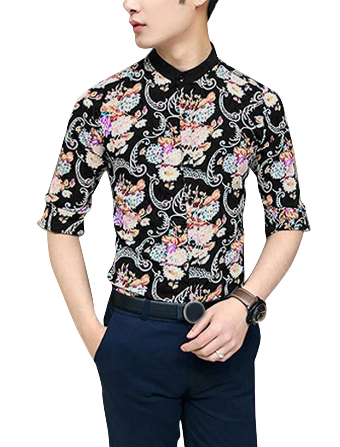 Men Chic Floral Prints Half Sleeve Leisure Top Shirt Black M