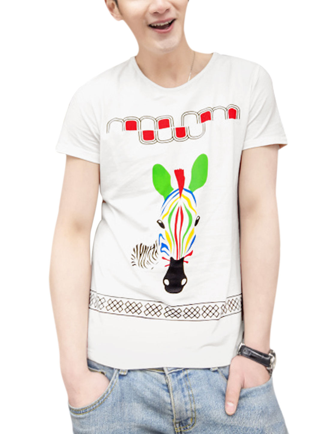 Men Cartoon Zebra Pattern Short Sleeve Slipover Soft Tee White M