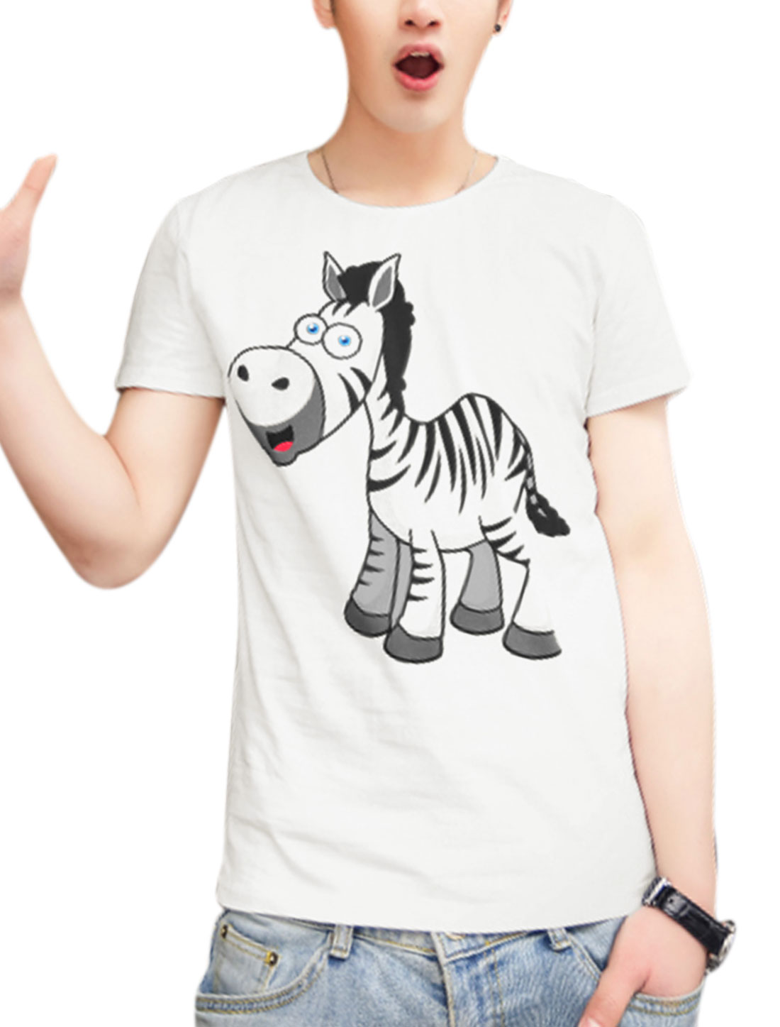 Men Slipover Cartoon Zebra Pattern Short Sleeve Stretchy Tee White M