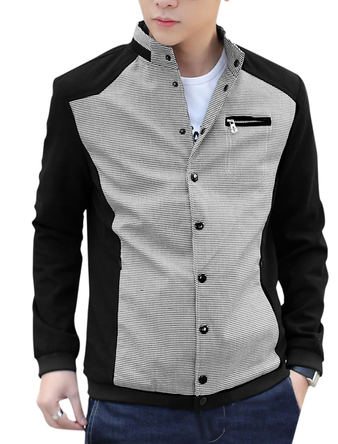 Man Stand Collar Button Down Closure Fashion Jacket Black M