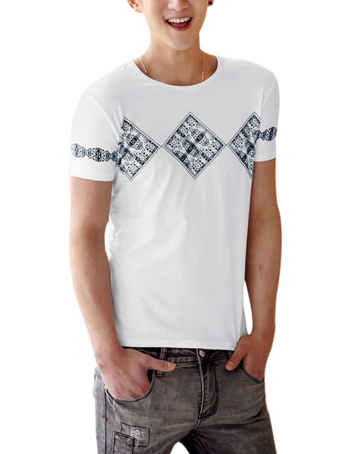Men Slipover Soft Short Sleeve Geometric Prints Tee Top White S
