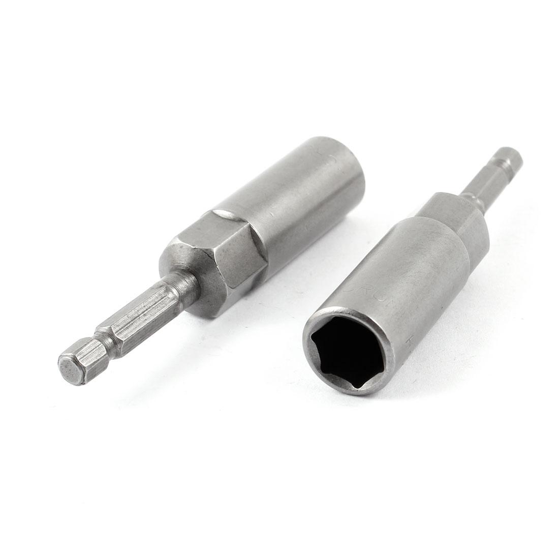"2 Pcs Chrome-Vanadium 80mm Long 1/4"" Shank 12mm Hex Socket Nut Driver Bit"