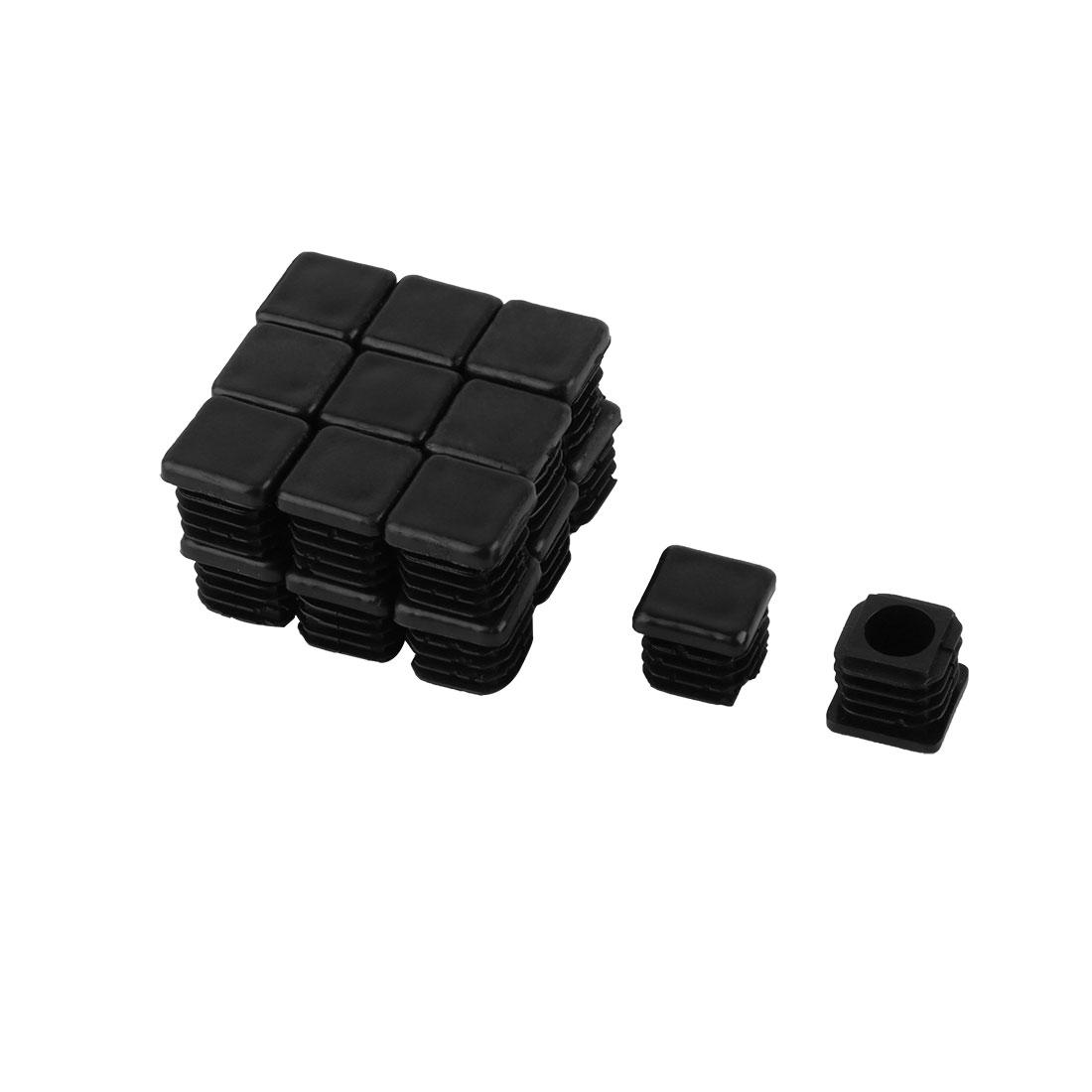 20mm x 20mm Plastic Square Tube Inserts End Black Blanking Caps 20 Pcs