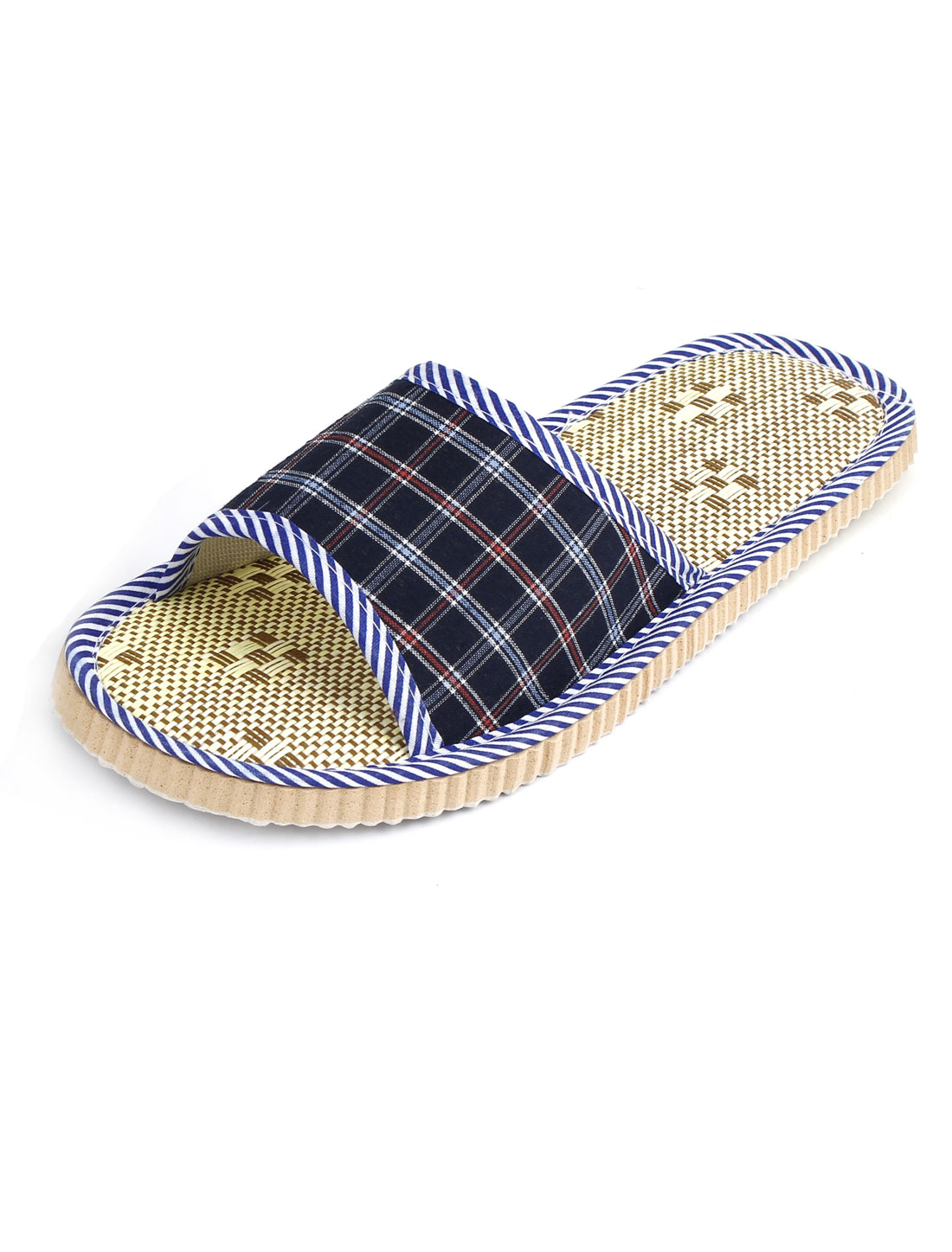 Pair Blue Outsole Plaids Pattern Home Flat Shoes Slippers for Man US 9