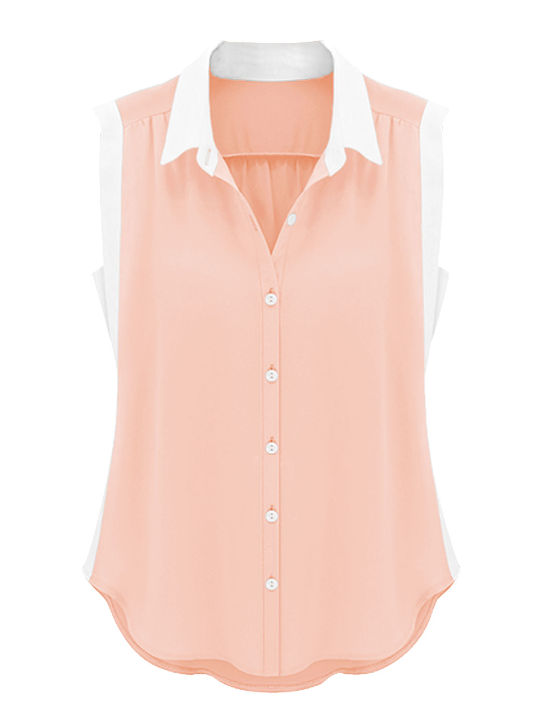 Lady Leisure Point Collar Single Breasted Shirt Light Salmon L