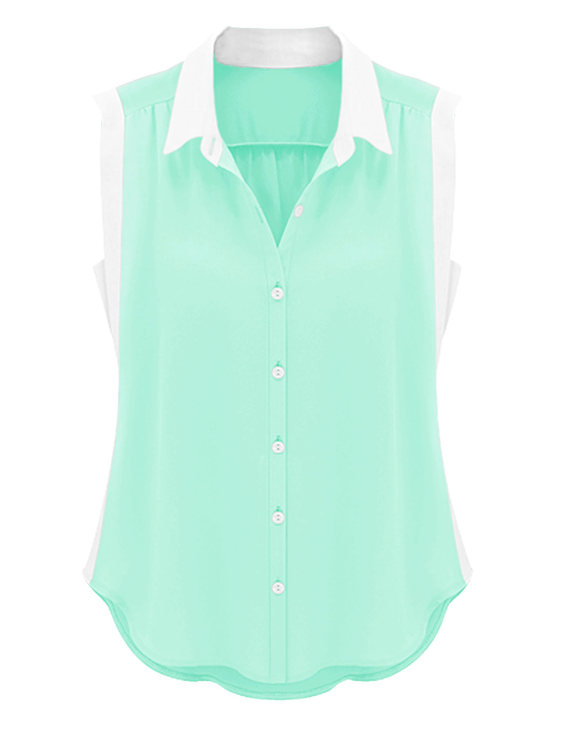 Lady NEW Point Collar Single Breasted Loose Shirt Mint L