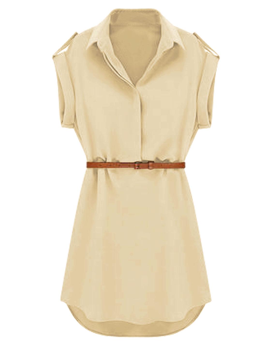 Lady Point Collar Round Hem 1/2 Placket Shirt Dress w Belt Khaki M