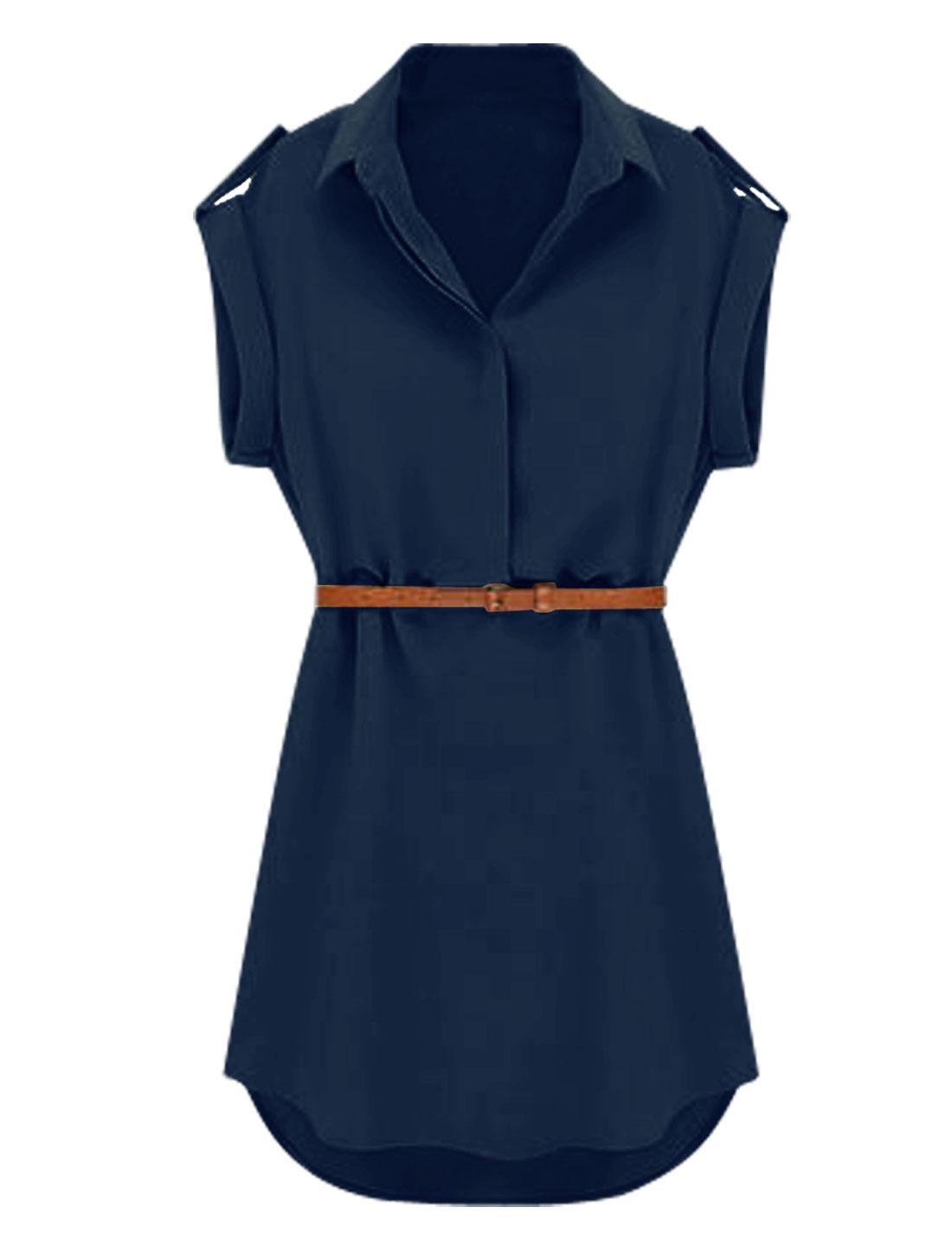 Lady Point Collar Short Sleeve 1/2 Placket Shirt Dress w Belt Navy Blue S