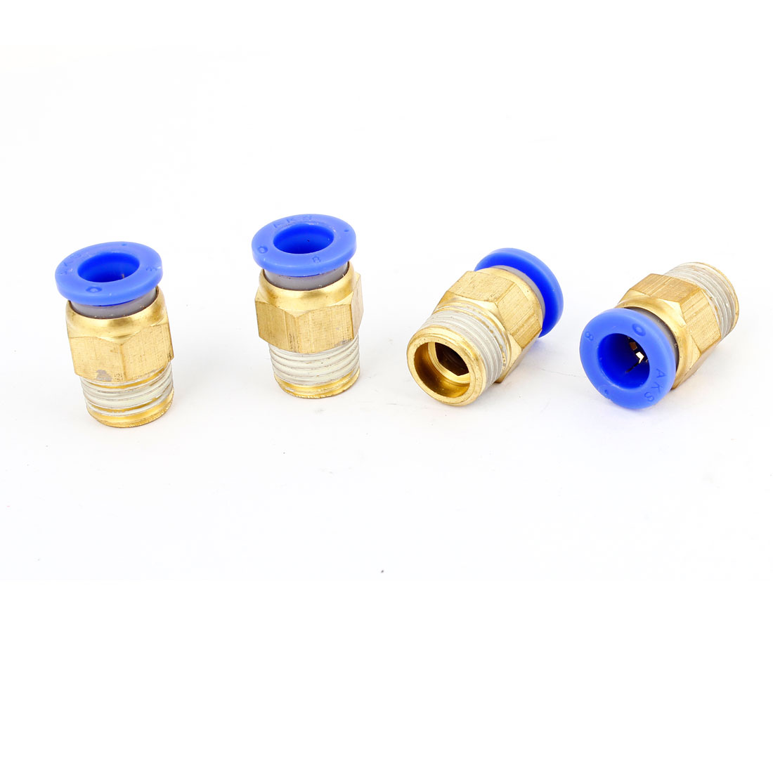 4PCS 1/4 PT Male Threaded OD 8mm Push In Quick Release Coupler Connector Air Compressor Hose Disconnect Adapters Connectors Fittings Brass Tone