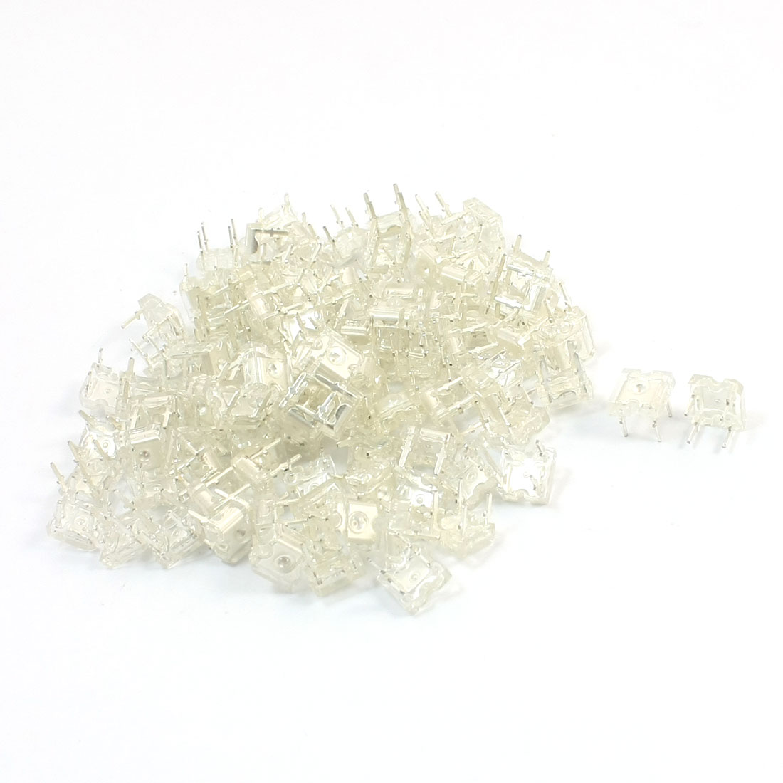 100 Pcs DC1.8-2.0V 3mm Dia Top 5mm Pitch 4 Pins Yellow Light Lamp Piranha LED Emitting Diodes