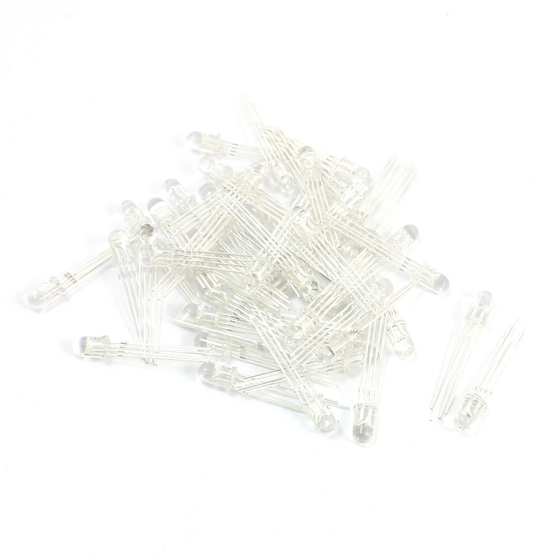 50 Pcs 5mm Head Dia Common Anode 4 Pin Terminals Red Green Blue LED Light Emitting Diodes DC2.2-3.0V