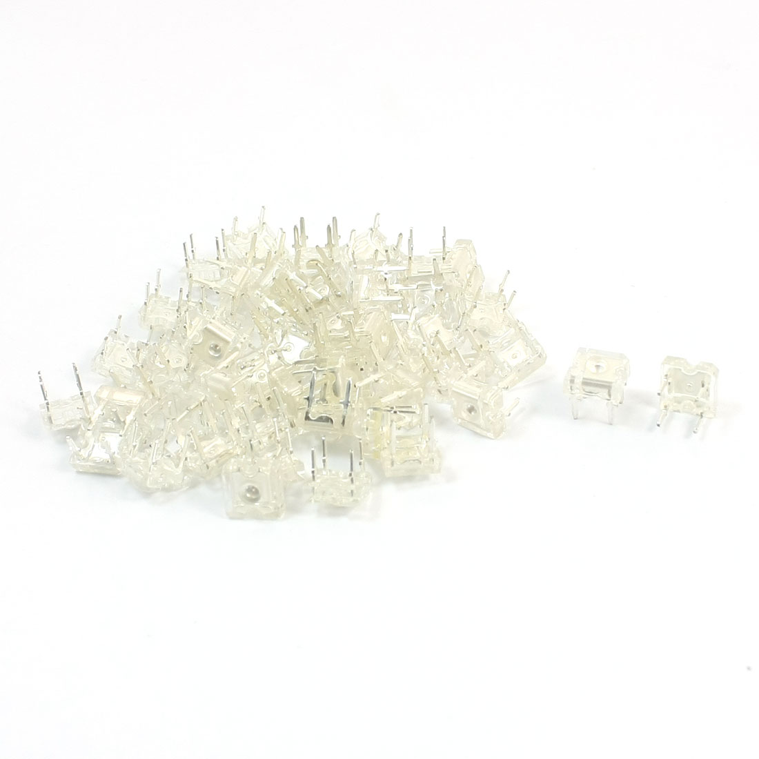 50 Pcs DC1.8-2.0V 3mm Dia 4 Pins Yellow Light Lamp Piranha LED Emitting Diodes