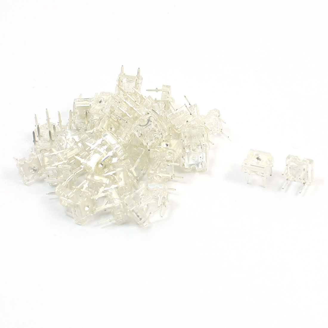 50 Pcs DC3.0-3.2V 5mm Pitch 4 Pin 3mm Dia Top Round Blue Light Piranha LED Emitting Diodes
