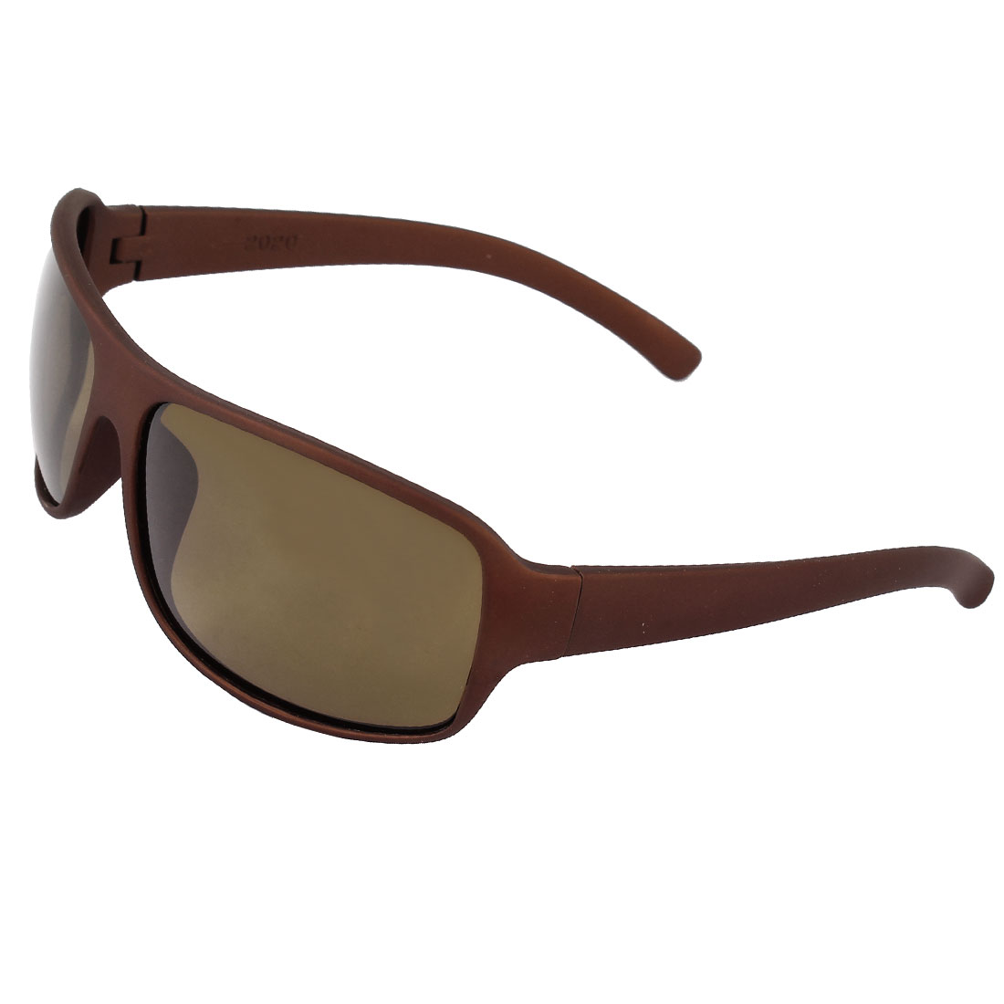Single Bridge Plastic Full Rim Frame Rectangle Shaped Lens Shopping Riding Camping Leisure Polarized Glasses Eyewear Chocolate Color for Man
