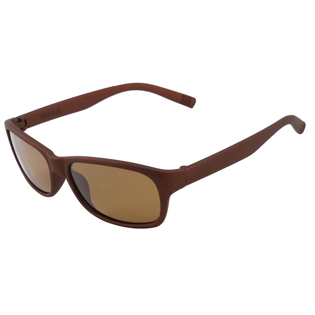 Fashional Single Brige Plastic Full Rim Frame Rectangle Shaped Lens Sports Riding Outdoor Leisure Polarized Glasses Sunglasses Brown for Man