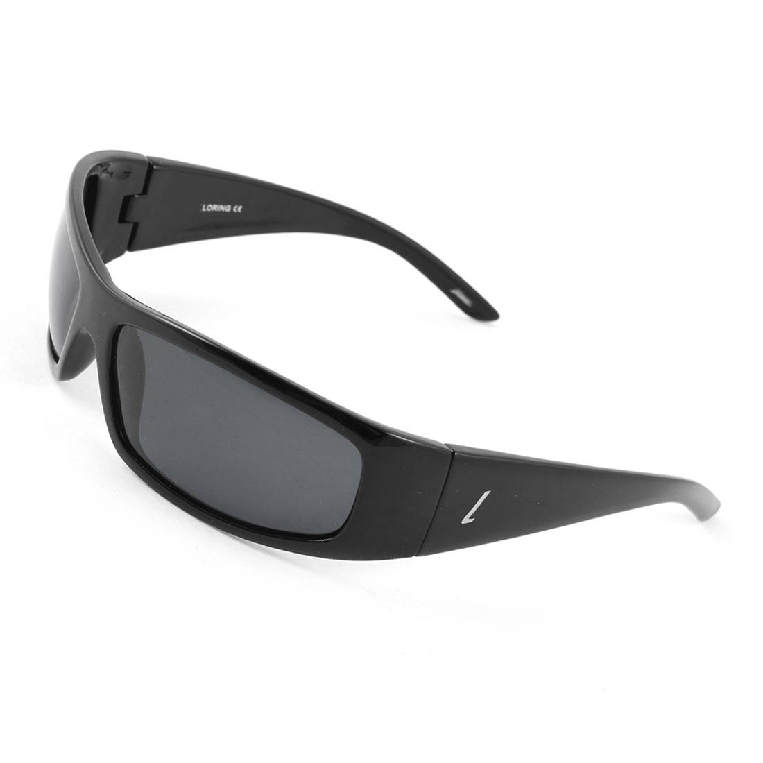 Fashionable Wide Temple Plastic Full Rim Rectangle Frame Gray Lens Leisure Polarized Sun Glasses Black for Man