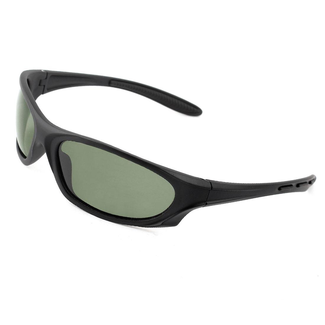 Fashionable Single Bridge Plastic Full Rim Frame Gray Green Lens Beach Traveling Shopping Polarized Sun Glasses Black for Man