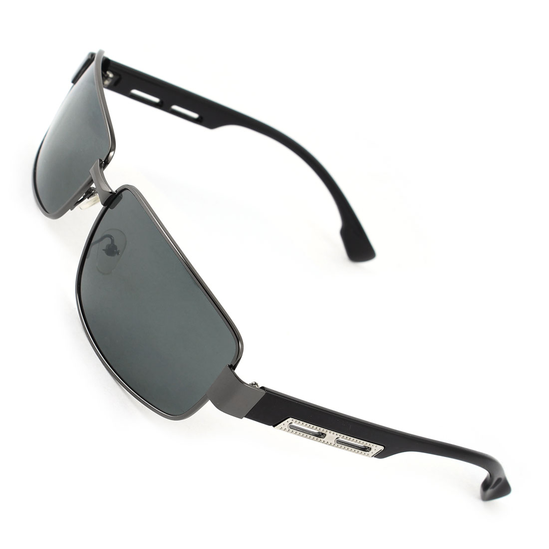 Fashion Black Plastic Arms Metal Full Rim Rectangle Dark Gray Lens Leisure Polarized Sun Glasses for Man