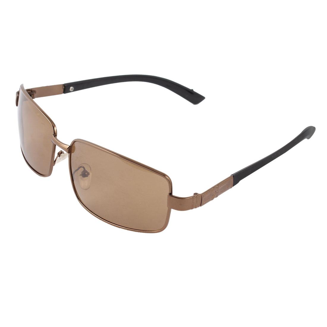 Fashionable Black Plastic Temple Metal Full Rim Frame Rectangle Shaped Brown Lens Leisure Polarized Sun Glasses for Man