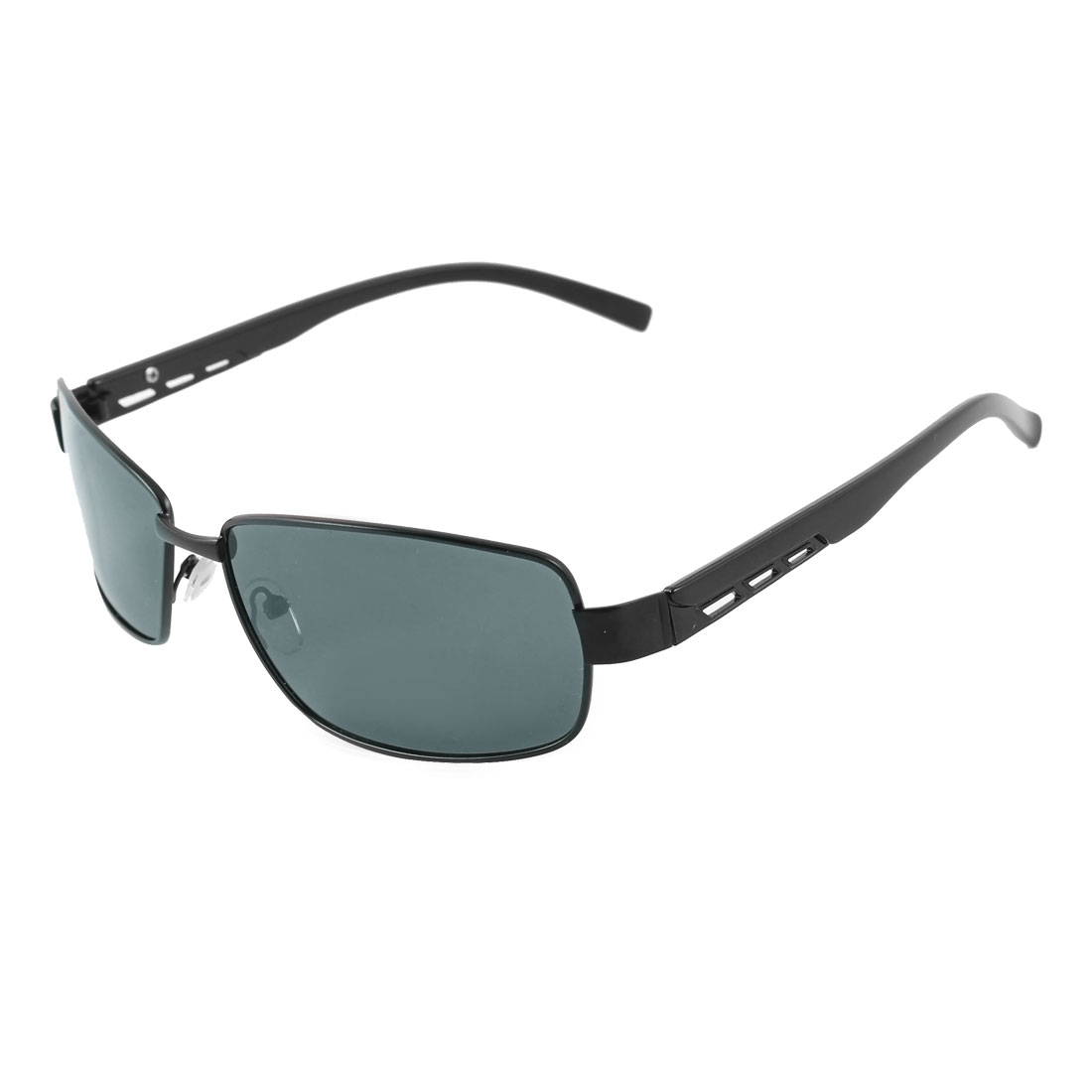 Fashionable Hollow Out Design Arms Black Metal Full Rim Frame Rectangle Shaped Lens Leisure Polarized Glasses for Man