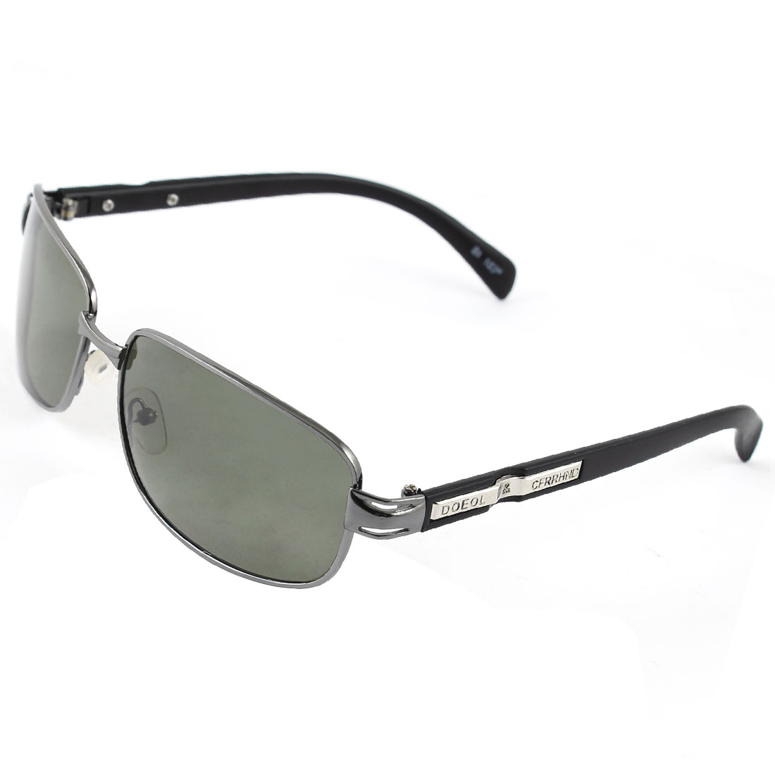 Metal Decor Plastic Arms Single Bridge Black Full Rim Frame Rectangle Shaped Gray Lens Leisure Polarized Sun Glasses for Man