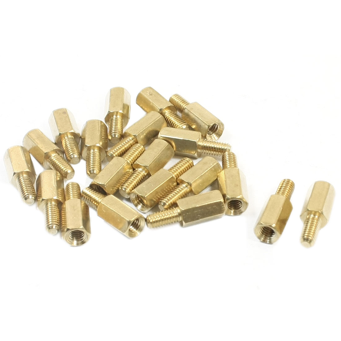 M3 x 8mm x 14mm Male/Female Threaded Gold Tone Brass PCB Hexagon Nut Standoff Spacer 20Pcs
