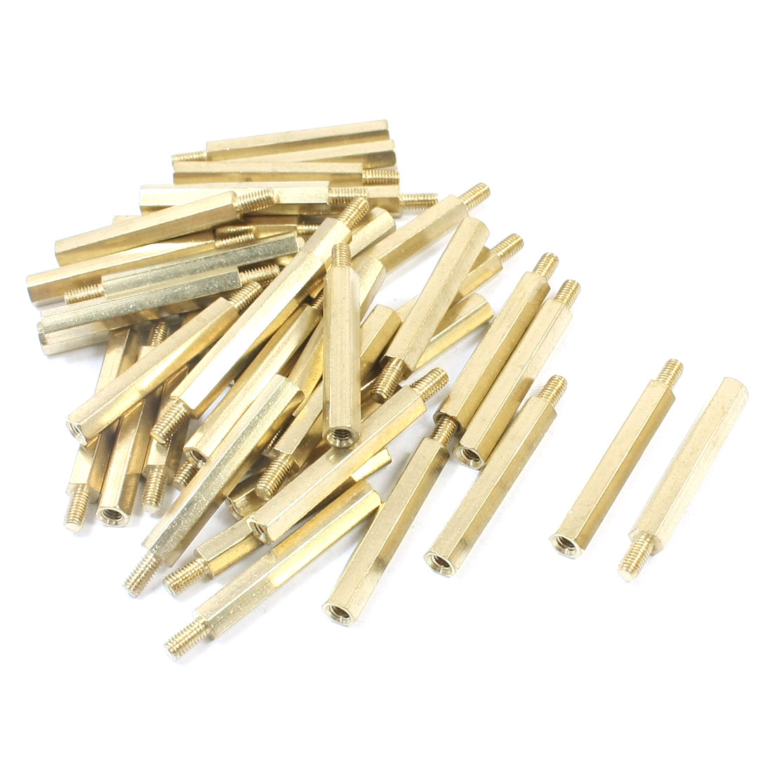 M3 x 30mm x 36mm Male to Female Threaded Gold Tone Brass Pillar PCB Hexagon Nut Standoff Spacer 40Pcs