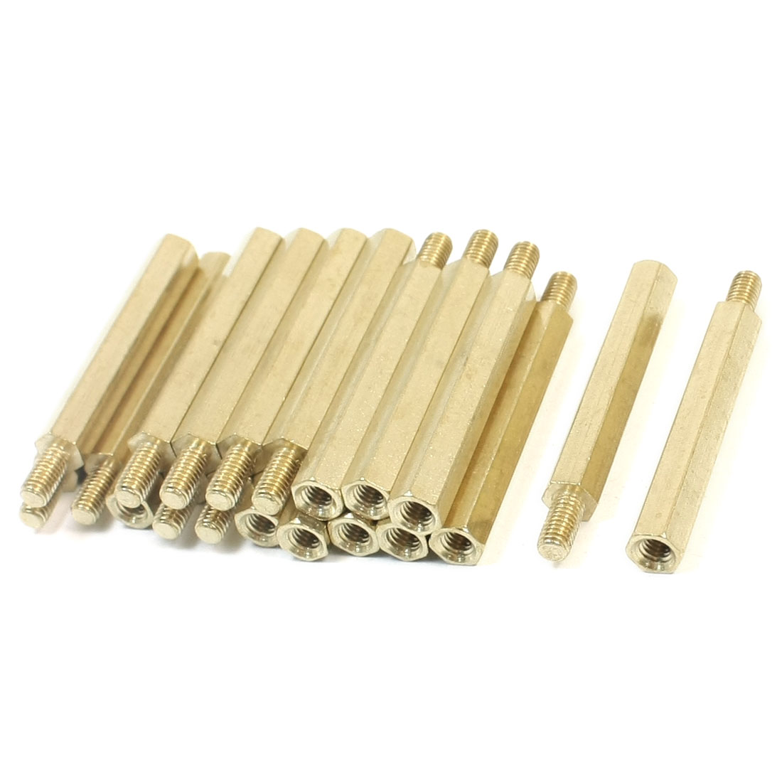 20 Pcs M3 x 30mm x 36mm Male Female Thread Gold Tone Brass Pillar Hexagonal Nut Standoff Spacer
