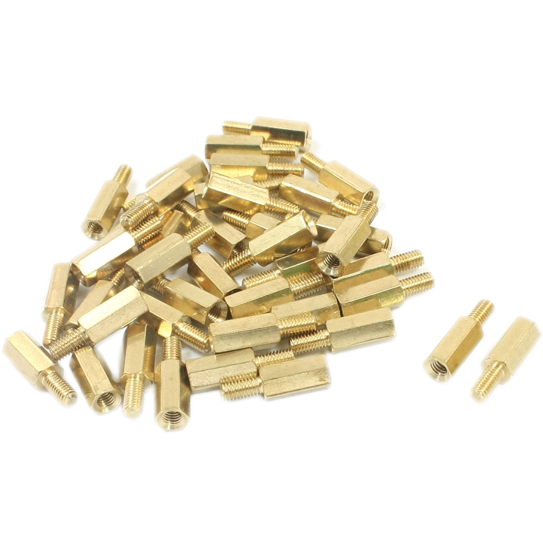 M3x10mmx16mm Male Female Thread Gold Tone Brass PCB Hexagonal Nut Standoff Spacers 40 Pcs