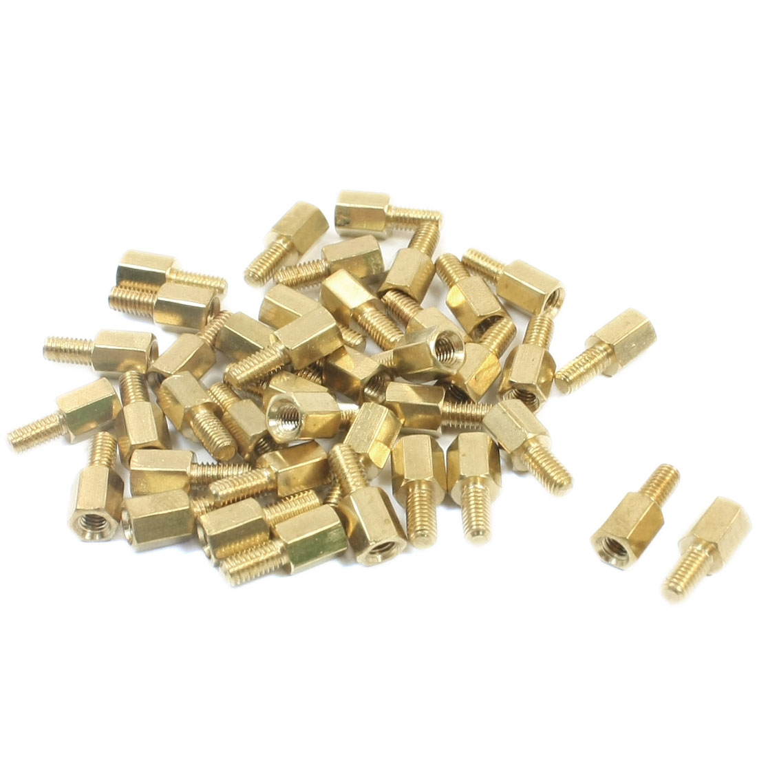 M3 x 6mm x 12mm Gold Tone Male Female Thread Brass Pillar PCB Hexagon Standoff Spacer 40Pcs