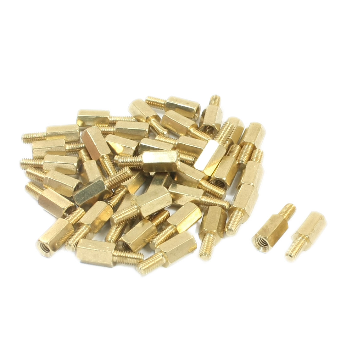 M3 Male/Female Thread Gold Tone Brass Pillar PCB Hexagon Standoff Spacer 6mmx12mm 40Pcs