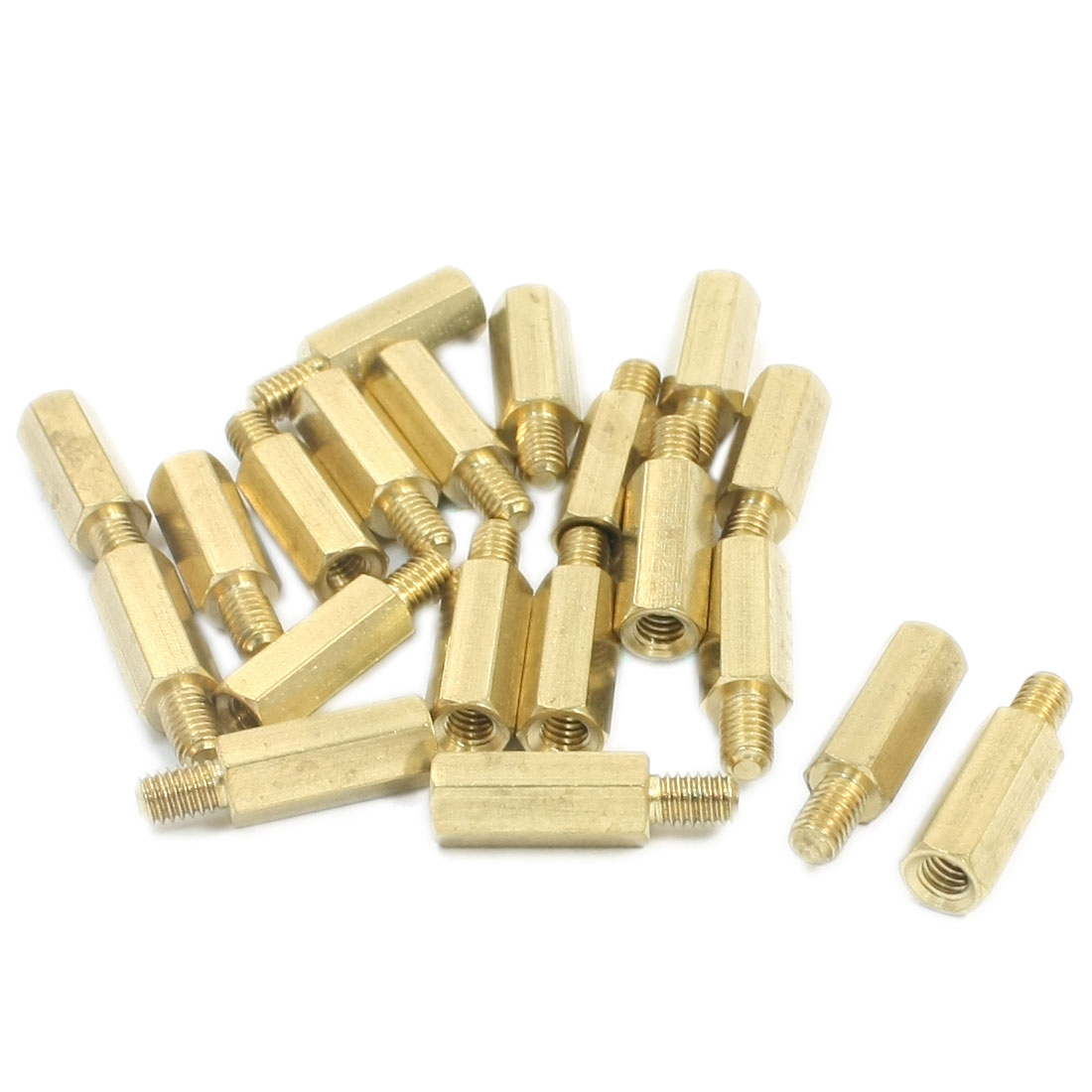 M3 x 15mm x 21mm Male to Female Gold Tone Brass Pillar PCB Hexagonal Nut Standoff Spacer 20 Pcs