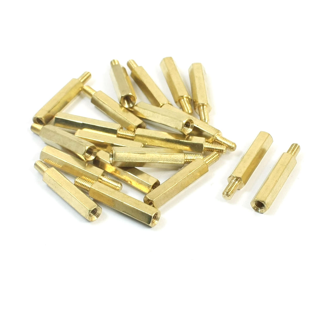M3 x 20mm x 26mm Male Female Threaded Gold Tone Brass Pillar PCB Hexagon Nut Standoff Spacer 20Pcs
