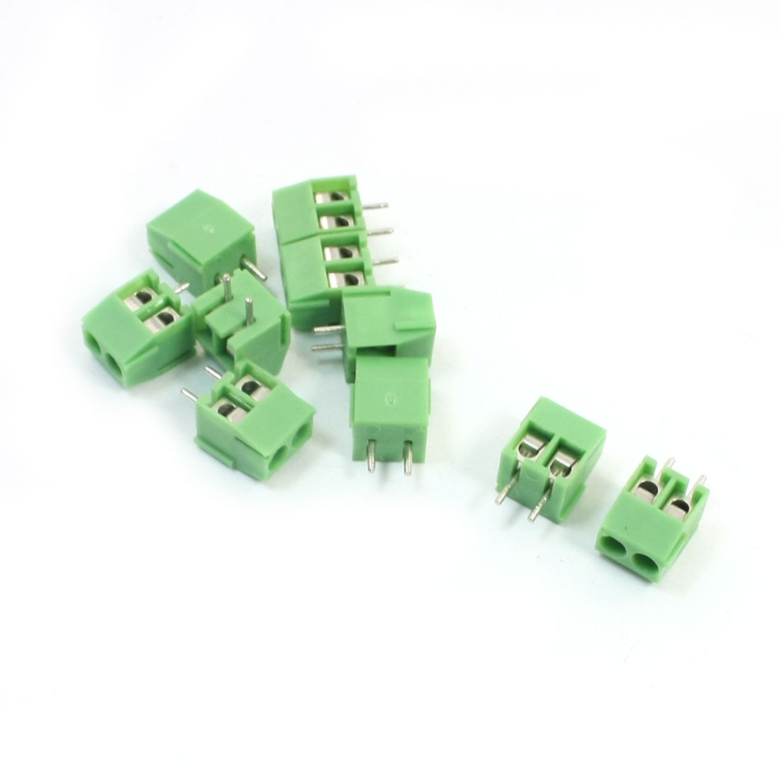 300V 10A 3.6mm Pitch Pluggable Type 2-Position PCB Mounting Plastic Screw Terminal Block Connector Green 10Pcs