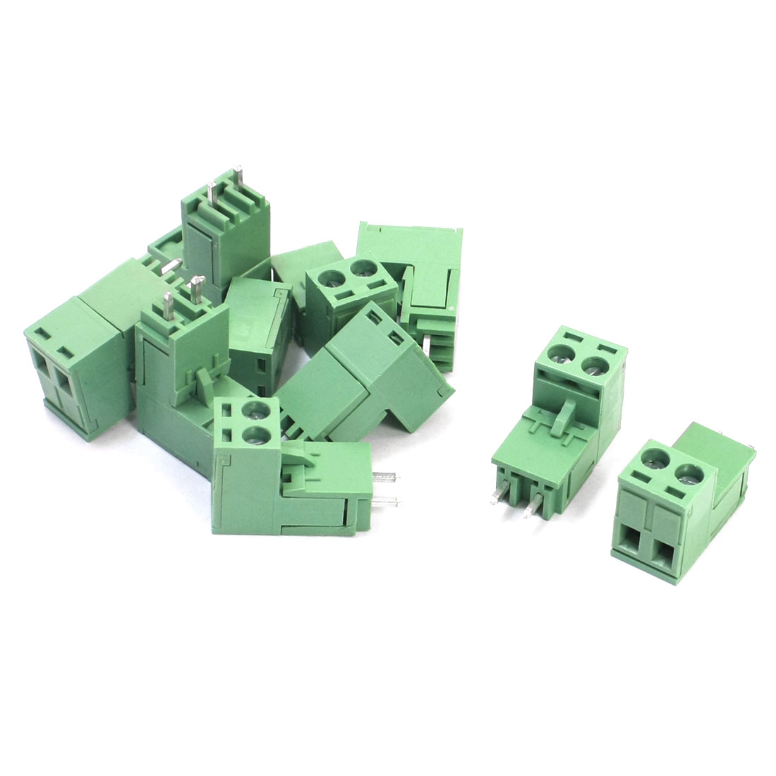 10Pcs 5.08mm Pitch Right Angle 2-Position Pluggable Type PCB Mounting Green Plastic Screw Terminal Block 300V 15A
